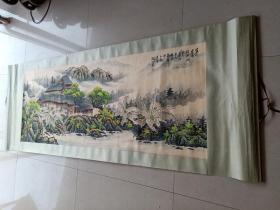 乡下收的近代名人关山月山水画一幅