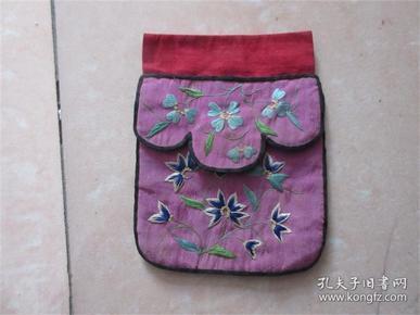 清代民国手工老刺绣品老钱包手绘儿童花卉图布兜收藏历史民风民俗