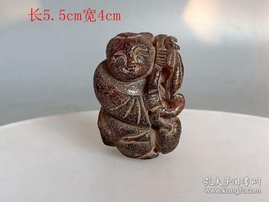 清代传世雕工不错的老琥珀人物手把件