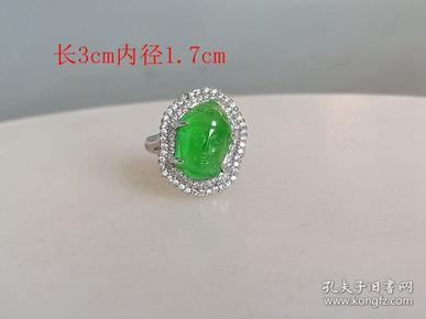 乡下收的镶嵌冰种满绿翡翠佛头戒指