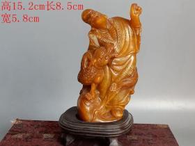 清代传世雕工不错的老田黄石描金罗汉摆件