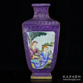 清乾隆珐琅彩人物纹方瓶