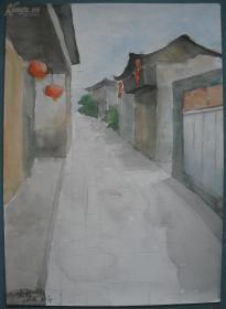 现代著名版画艺术家陆放水彩画一幅(保真)