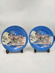唐山瓷 手绘大赏盘一对 保存完整 品相一流包老