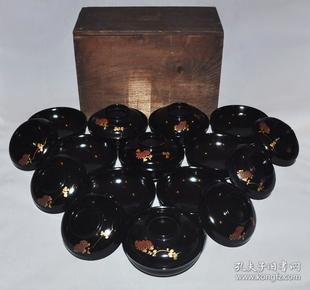 ▲清代日本木胎黑漆金莳绘桐菊纹漆碗10套 盖碗茶碗盏茶杯盅回流茶道具