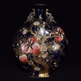 清乾隆蓝釉粉彩福寿纹双耳扁瓶,31×25×12,