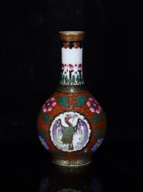 清雍正珐琅彩鹤纹瓶,13×7.5,