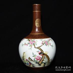 清雍正年木纹釉开光花鸟纹描金天球瓶29*16m