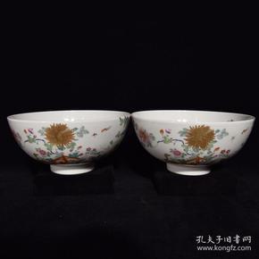 清乾隆粉彩花卉纹碗,7×19,