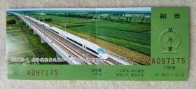 站台票 京津城际高速铁路  GRH3动车组列车 D1(1)2-1