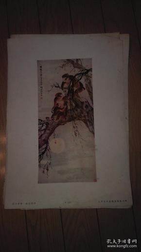 珂罗版8开散页画一张;晓月清猿/胡伯翔 作。38x27cm。上海古今名画出版社印行。序号;B110