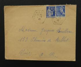 1940年3月1日法国(默兹河寄尼斯)实寄封贴早期qy88.vip千亿国际官网2枚(销2个邮戳)59