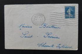 1923年1月11日法国(洛里昂寄桑特)实寄封贴早期qy88.vip千亿国际官网1枚(销2个邮戳)71