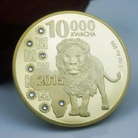 非洲赞比亚纪念币镶钻狮子金币 野生动物非洲狮子纪念币外币硬币