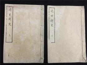 明治汉诗集《近世诗史》2册全,收录明治时期知名汉诗人汉诗,其中有纪行诗,如之上海、台湾、红海、美国等地,明治9年出版。万里得一郎藏书
