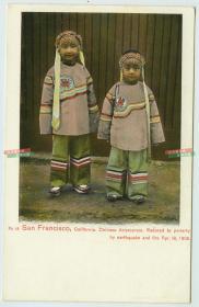 民国极早期加州旧金山唐人街华人华侨传统服饰小女孩, 1906年4月18日大地震和火灾后沦为贫困儿童,老明信片