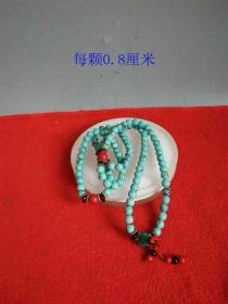 少见清代传世老绿松石镶嵌珊瑚挂链