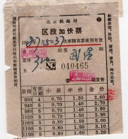 新中国火车票-----1968年北京局,区段加快票