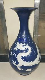 霁蓝釉白龙瓶一对