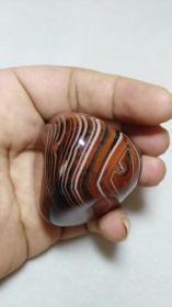 收钱币收的 极品战国红缠丝玛瑙原石 缠丝环绕 质地极好