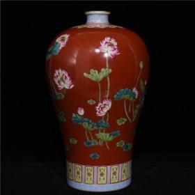 雍正矾红粉彩荷花纹梅瓶28GL