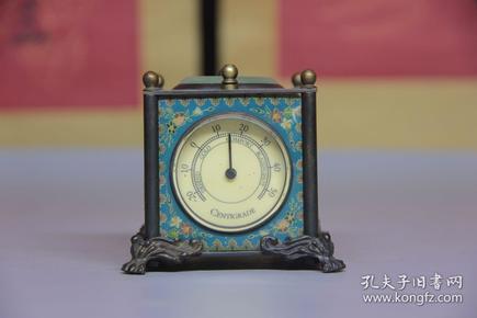 旧藏 铜制小座钟摆件,正常走字,带指南针,温度,湿度,尺寸7.5*7.5*6.5厘米,细节图如下
