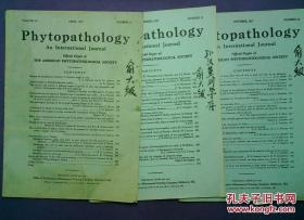 外文 Phytopathology 植物病理学An International Journal 1957 4\10\11 俞大绂签名