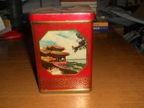 老茶叶盒铁皮制北京风景 北京印铁制罐厂