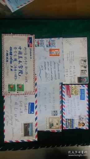 国外寄杭州实寄封6枚一起售