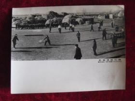 老照片 体育资料文献  黑龙江省海伦县仁合村 社员们正进行各种球类活动      照片长20厘米宽15厘米    B箱——9号袋