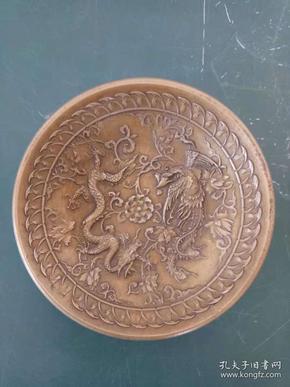 纯铜盘子·浮雕雕刻龙飞凤舞铜盘·笔洗·重量271克