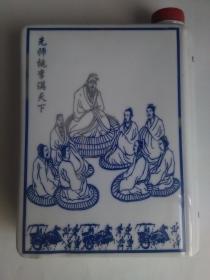 瓷器书型酒瓶:先师桃李满天下(圣人:孔子教学图案)【景德镇制】