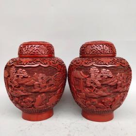 乾隆年制底款,剔红漆器精雕山水风景图将军罐一对 ,高19厘米,宽约14.5厘米,重1400克、
