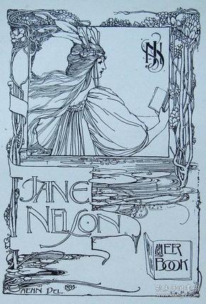 """""""新艺术名作""""英国艺术家""""Harold E.H.Nelson""""线刻藏书票—《读书女》1895"""