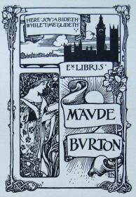 """""""新艺术名作""""英国艺术家""""Harold E.H.Nelson""""线刻藏书票—《古堡,仕女》1900"""