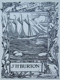 """""""新艺术名作""""英国艺术家""""Harold E.H.Nelson""""线刻藏书票—《帆船》1900"""