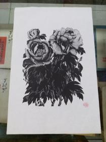 0年代朵云轩 刘岘木刻花卉版画 单张牡丹