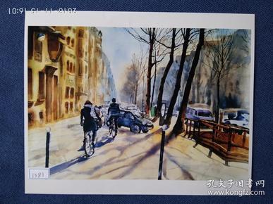 水粉画参赛作品签名照片《冬天的城市》作者:胡冬敏
