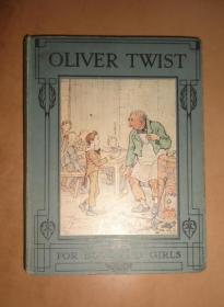 1890年CHARLES DICKENS: Oliver Twist 狄更斯名著《霧都孤兒》兒童版繪本 初版本精裝 8楨絕美彩色插圖 品佳