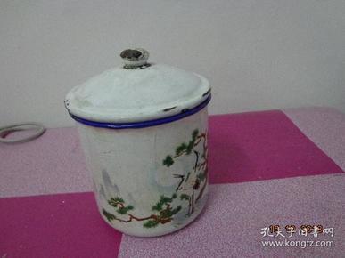 松鹤图搪瓷缸