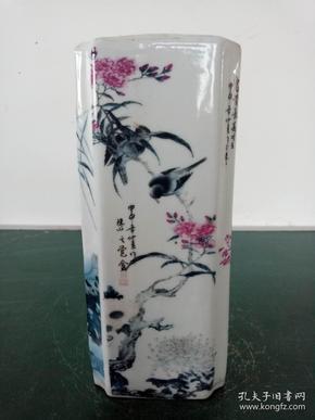 瓷笔筒·粉彩四方花鸟笔筒·文房用品摆件.
