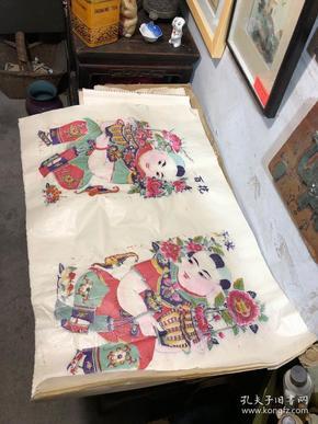 五六十年代  套色木板年画 两个品种,版模特别美,百花齐放+财神两张260