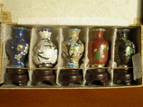 80年代 景泰蓝工艺品小赏瓶一盒6个 掐丝珐琅工艺品