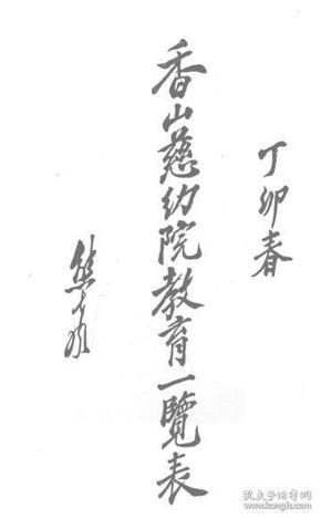 香山慈幼院教育统计图表一览  1927年版(复印本)