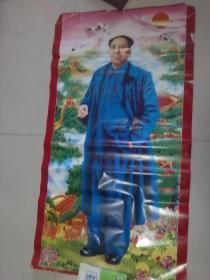 毛主席全身像 红太阳 祖国山河 万里长城 【规格 135X75CM大幅少见】