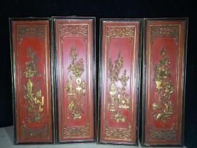 早年旧藏漆器花卉屏风四块,单块尺寸高94厘米,宽31厘米。。。