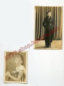 民国1930年代湖南长沙又一村民众日夜照相馆钢印,朱雪鸿人物照,签赠照2张