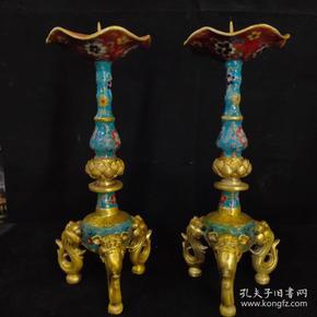 景泰蓝三兽足莲花蜡台一对尺寸如图,重3840克