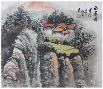 名家手绘国画山水画:山居图