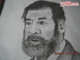 萨达姆素描画像一张(李志良铅笔画.原画,印章)画面尺寸:30cm×21cm